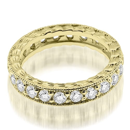 1.15 cttw. 14K Yellow Gold Antique Style Round Cut Diamond Eternity Band Ring