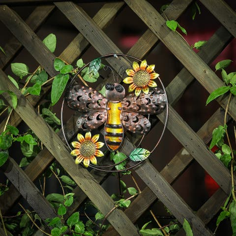 Bee Metal and Glass Outdoor Wall Decor