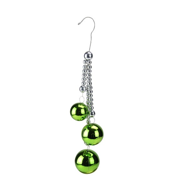 "8.5"" Shiny Green Trio Christmas Ball Pendant Ornament"