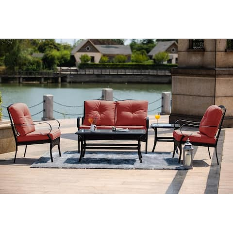 Moda New 5-Piece Steel Outdoor Garden Chat Set with Coffee Table