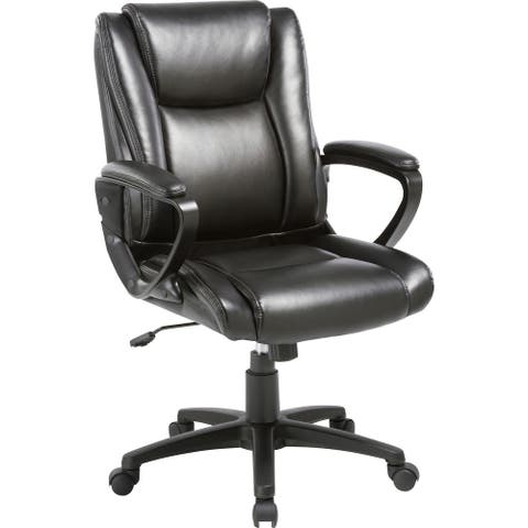 Lorell Soho High-back Leather Chair - Black Bonded Leather Seat - Black Bonded Leather Back - 5-star Base - 1 Each
