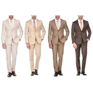 Porto Filo Men's 2 Piece Slim Fit Suit (Brown, Tan, Bone, Beige)