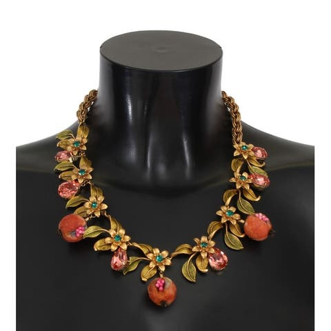 Dolce & Gabbana Gold Figs Fruit Floral Crystal Charms Necklace