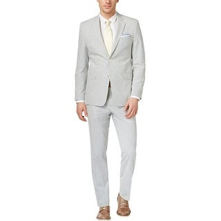 Ralph Lauren Slim Fit Blue and Cream Seersucker Suit 48 Long 48L Pants 43W