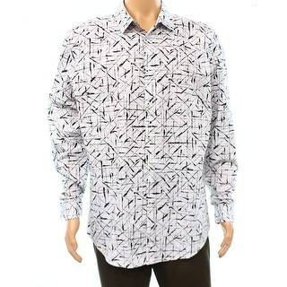 INC NEW White Black Mens Size Small S Crosshatch Print Button Down Shirt
