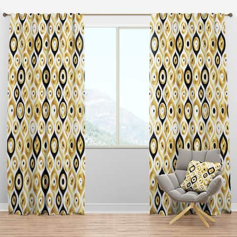 Designart 'Golden Art Deco Metallic Luxury Geometrics' Mid-Century Modern Blackout Curtain Panel