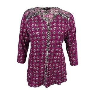 Style & Co. Women's Petite Printed Top (PL, Femme Tribal Magenta Blossom) - femme tribal magenta blossom - pl