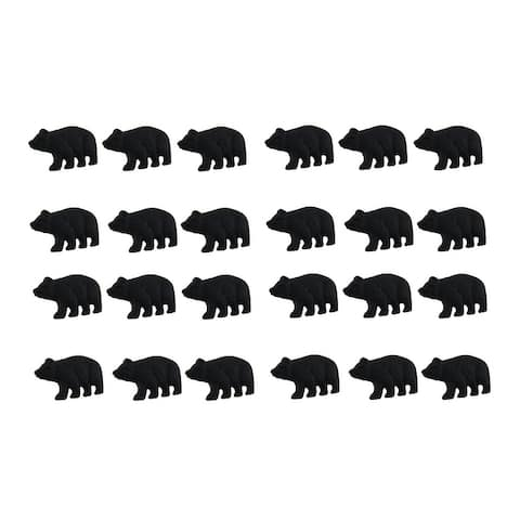 Matte Black Cast Iron Forest Bear Drawer Pull Cabinet Knob Set of 24 - 1.25 X 2 X 1 inches