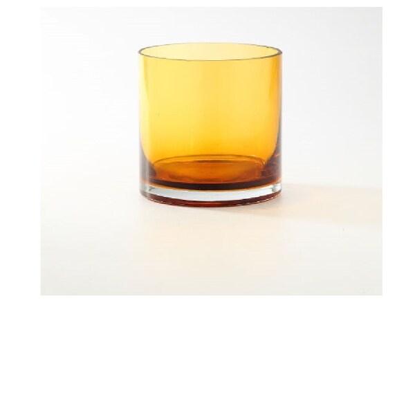 """6"""" Amber Transparent Cylinder Glass Vase Tabletop Decor - N/A"""