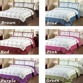 King Size Brown Blue Red Pink Purple Green 3 Piece Bedspread Quilted High Quality Bed Cover Embroidery Quilt