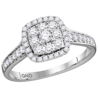 14kt White Gold Womens Round Natural Diamond Round Halo Bridal Wedding Engagement Ring 5/8 Cttw