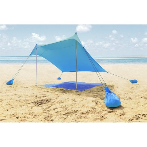 ALPHA CAMP Beach Sunshade 7.6 x 7.2 FT Portable Canopy Tent Sun Shelter Shade with Sandbag Anchors