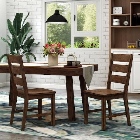 Furniture of America Mass Rustic Walnut Dining Chairs (Set of 2)