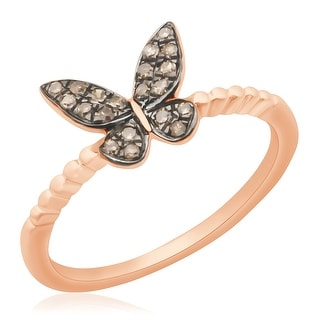 Fabulous 0.14Ct Brown Color Round Diamond Butterfly Ring
