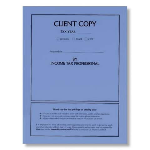 Blue Client Copy Tax Folder, No Staple, Pack of 50 - 8-3/4 x 11-1/4 in