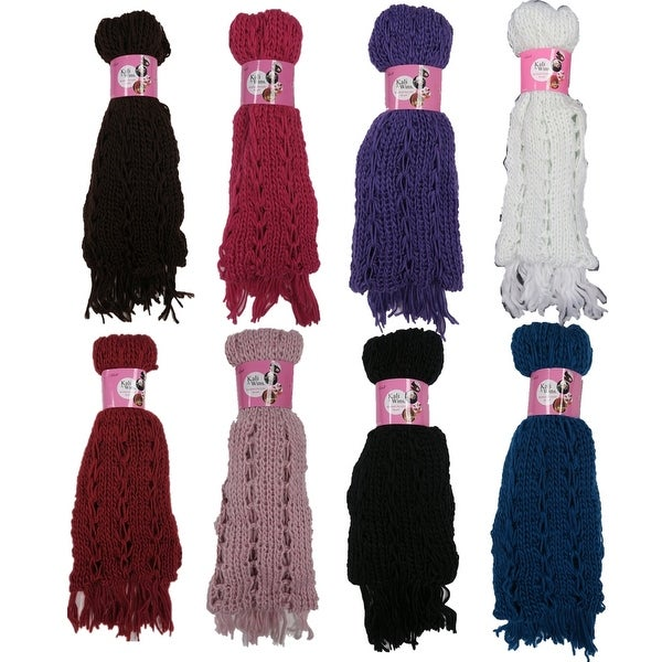 Women 6 Pack Solid Color Acrylic Winter Cold Weather Scarves