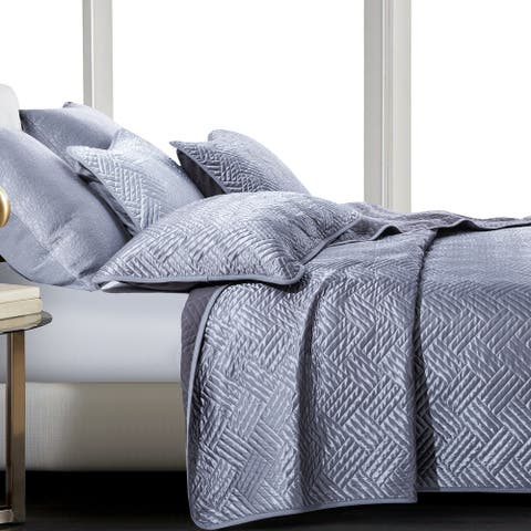 NTBAY Super Soft Luxury Satin Solid Color Twin & Queen & King Size 3 Piece Coverlet Set, Reversible Quilt Set Geometric Pattern
