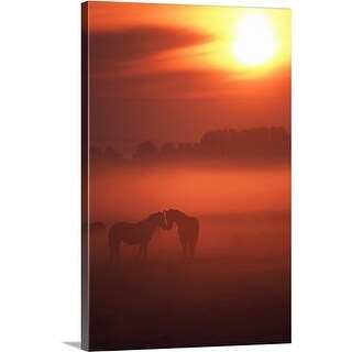 Premium Thick-Wrap Canvas entitled horses in dew