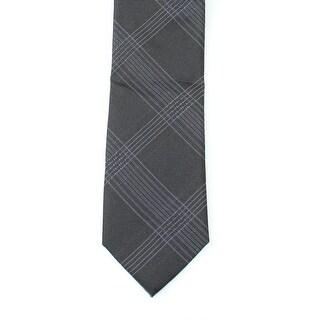 Calvin Klein NEW Black Men's One Size Intersect Grid Silk Neck Tie