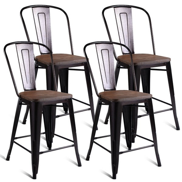 Set Of 4 Kitchen Chairs: Shop Costway Copper Set Of 4 Metal Wood Counter Stool