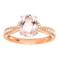 1 3/4 ct Natural Morganite & 1/4 ct Diamond Ring 14K Rose Gold