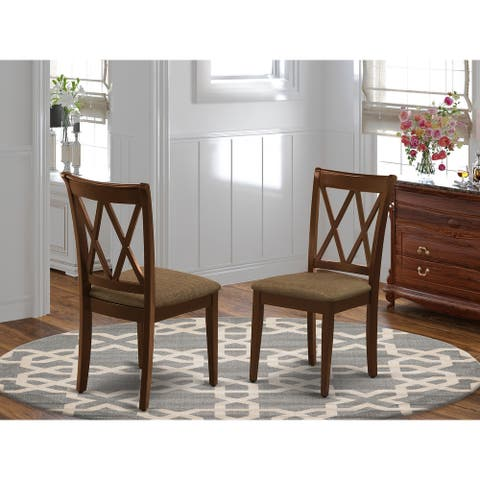 CLC-MAH-C Clarksville Double X-Back Chairs with Linen Fabric Upholstered Seat in Mahogany Finish
