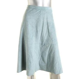Vince Camuto Womens Faux Suede Hip Pockets A-Line Skirt