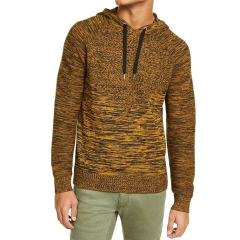 INC Mens Sweater Yellow Gold Small S Marled Spacedye Raglan Knit Hoodie