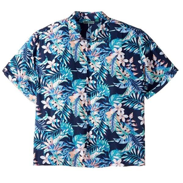 88066fddd Shop Cubavera Blue Mens Size XL Tropical Print Rayon Hawaiian Shirt - Free  Shipping On Orders Over $45 - Overstock - 22474104