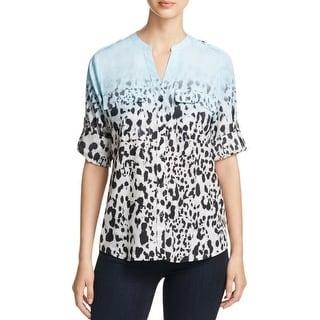 Calvin Klein Womens Casual Top Printed Adjustable Sleeves
