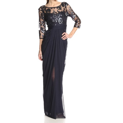 Adrianna Papell Blue Illusion Embroidered Women's Size 14 Gown