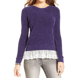 Oh MG! Womens Juniors Pullover Sweater Chenille Lace Trim