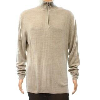 Weatherproof NEW Beige Heather Mens Size Large L Quarter Zip Sweater