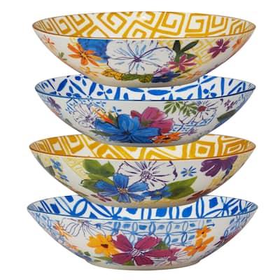 Certified International Flower Power Assorted Designs Soup/Cereal Bowls, Set of 4