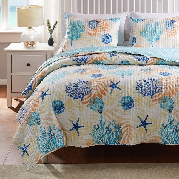 Greenland Home Fashions Montego Reversible Quilt Set. Opens flyout.