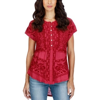 Lucky Brand Womens Casual Top Embroidered Short Sleeves