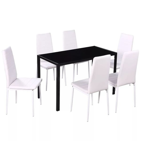 Shop VidaXL Seven Piece Dining Table And Chair Set Black