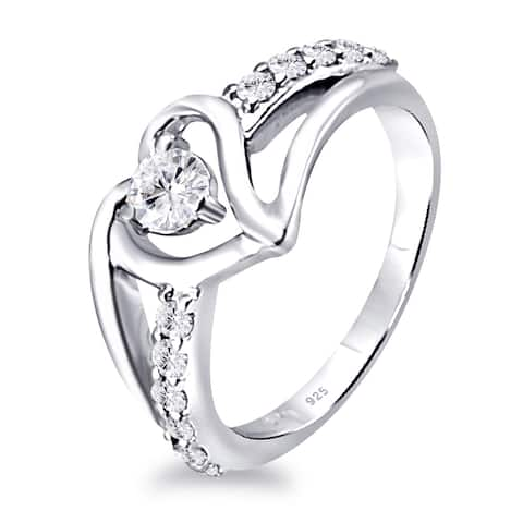 Moissanite Sterling Silver Round Halo Ring Ring by Orchid Jewelry