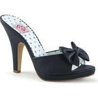 Pin Up Couture Women's Siren 03 Slide Black Faux Leather