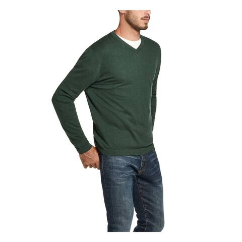 WEATHERPROOF VINTAGE Mens Green Heather Long Sleeve V Neck Sweater M