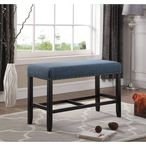 Biony Blue Fabric Counter Height Dining Bench with Nailhead Trim. Opens flyout.
