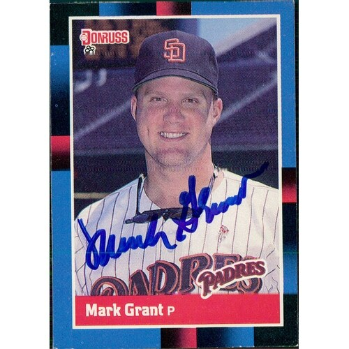 Signed Grant Mark San Diego Padres 1988 Donruss Baseball Card Autographed