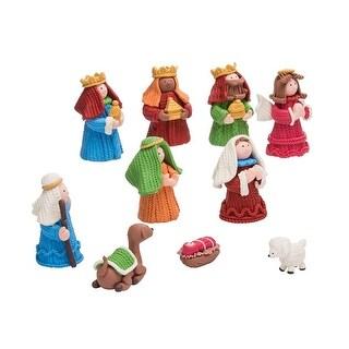 "Set of 10 Vibrantly Colored Birth of Jesus Nativity Theme Figurines 2.5"""