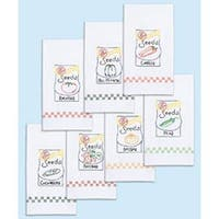 """Seed Packets - Stamped White Decorative Hand Towels 15""""X30"""" Set Of 7"""