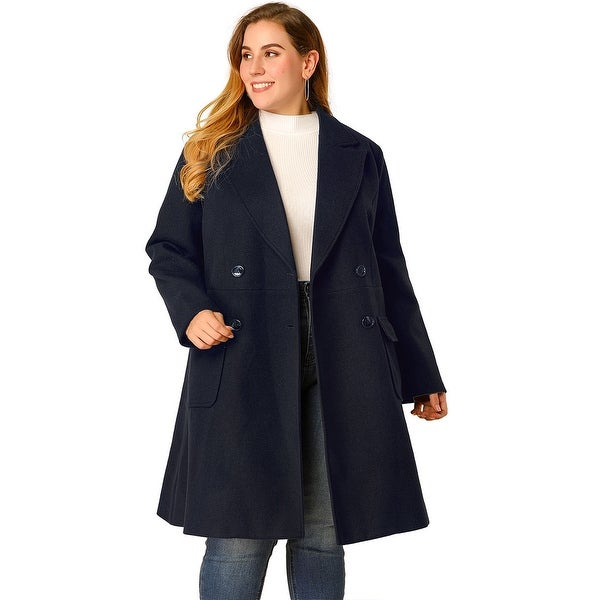 Women's Plus Size Notched Lapel Double Breasted Winter Long Coat - Navy Blue. Opens flyout.