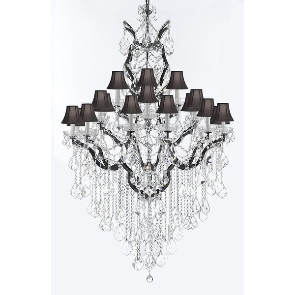 C Baroque Iron Crystal Chandelier With Black Shades