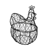 Metal Rooster Basket w/Hinged Lid Wire Mesh Container
