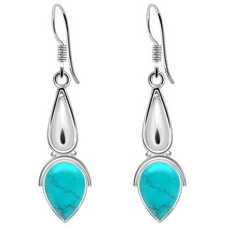 Multi Color Gemstones Sterling Silver Pear Dangle Earrings by Orchid Jewelry