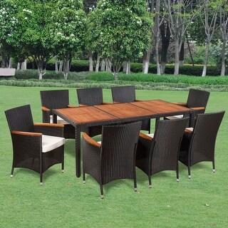 vidaXL Nine Piece Outdoor Dining Set Poly Rattan Acacia Table Top