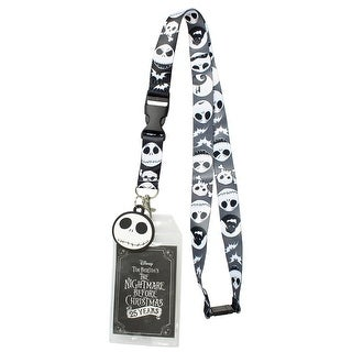 "Nightmare Before Christmas ID Lanyard Badge Holder 25th Anniversary With 1.5"" Rubber Charm Pendant - One Size Fits most"